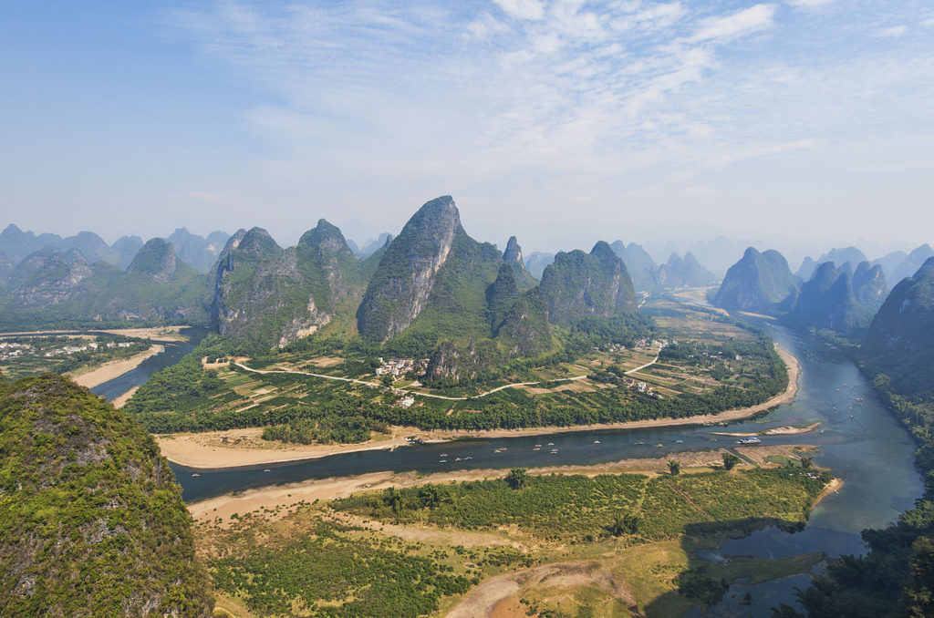 An aerial view of Yangshuo and Li River