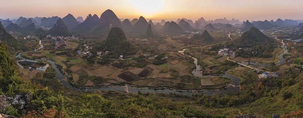 an aerial view of Yangshuo at sunset